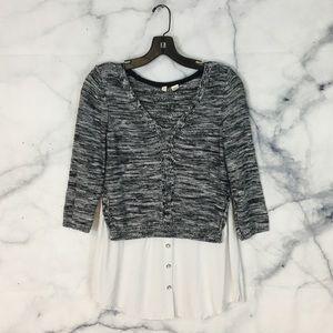 Anthropologie Moth Petite Aselin Layered Sweater
